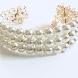 Three strand Pearl Cuff Bracelet